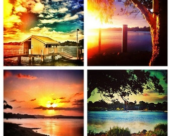 Sunrise Photo Set - Island Photography Note Cards - Instagram Mini Prints 4x4