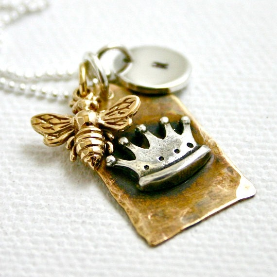 Personalized Queen Bee necklace - Crown tag with bee and hand stamped initial charm