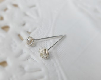 4 mm Bright Knot Ball Earrings, Love knot stud earrings, 925 Sterling Silver, Cartilage Earrings, Nose stud, Tragus stud, Helix stud SIZING