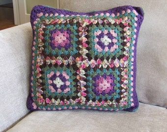 Large Autumnal Crochet Cushion Cover