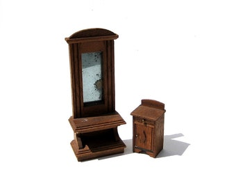 Antique German Dollhouse Furniture Pier Mirror and Cabinet Circa 1900s
