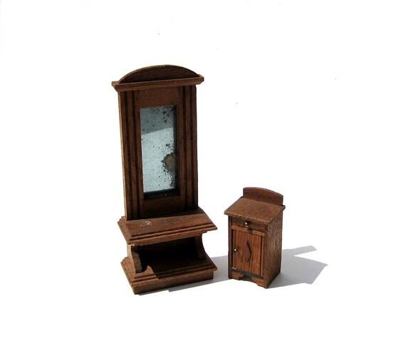 antique german dollhouse furniture pier mirror and cabinet