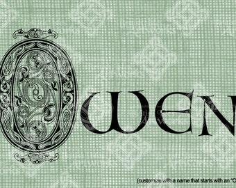 Digital Download Celtic Illumination Letter O, digi stamp, digis, St Patricks Day, Ornate digital collage sheet, Animal Inspired