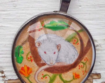White Rex Rat on Gold Pendant OOAK Wearable Art for the Rat Lover