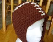 Dark Brown Crochet Chunky Yarn Football Ear Flap Hat Teens/Adults
