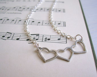 Silver Sweetheart necklace - dainty heart charm on silver - handmade