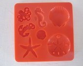 shells seahorse octopus anchor silicone rubber mold - 7 designs  resin, polymer clay, mod melts, candy, utee, plaster, wax, soap, epoxy clay