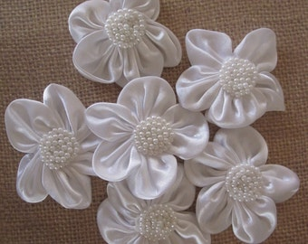 White Pearl and Satin Flowers - 6 pcs - Wedding - Millinery, Altered Art, Hair Flowers, Silk, Embellishments