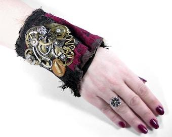 Steampunk Cuff Unisex Wrist Cuff Black Leather Red Velvet UNIQUE Brass Gears Coils Skull ROCKER Punk Cuff - Steampunk Clothing by edmdesigns