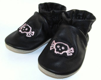 Soft Sole Handmade Black Leather Pink Skulls Baby Shoes 6 to 12 Month