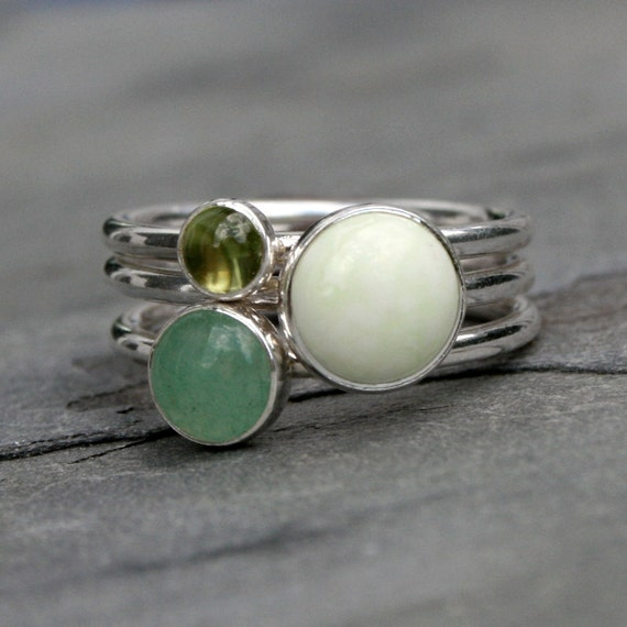 Stacking Rings, Peridot Aventurine Chrysoprase, Sterling Silver Gemstones, Garden Mint Green, Stack Rings, Stackable Rings, Lemon Sorbet
