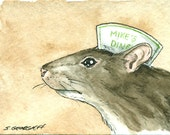 ACEO signed PRINT - Rat in a Diner hat