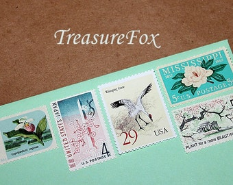 FLOWERS and CRANES ..  Unused Vintage US Postage Stamps for you to mail 10 letters. Magnolias, Cranes, Washington Cherry Blossoms, Pine tree