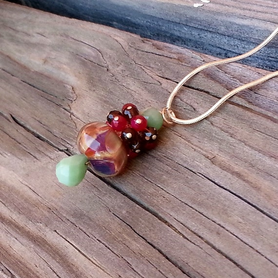 Lampwork and Chrysoprase Pendant from Magnolia Jewel Designs