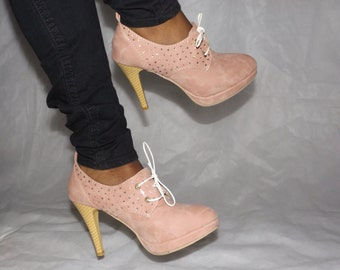 Pink Swarovski Crystal high heel platform shoes  NEW sheer laces available!