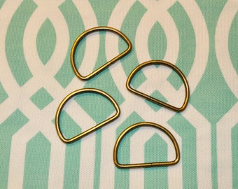 FREE SHIPPING--100 of 1.5 inch Unwelded Anti Brass D-Rings