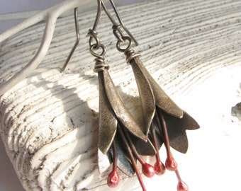 Mixed Metal Copper And Sterling Silver Earrings, Metalsmith Earrings, Artisan Contemporary Jewelry, Red And Silver Dangle Flower Earrings