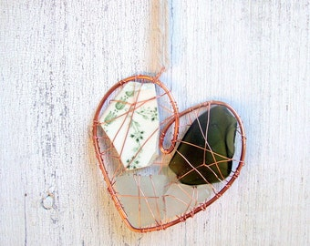 Beach Pottery Heart Suncatcher Ornament with Green and White Seaglass