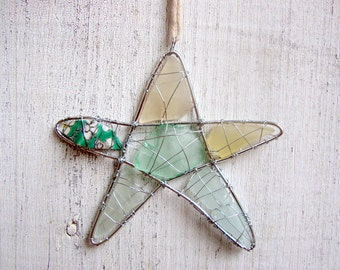 Sea Glass Star Suncatcher with Green and Yellow Beach Pottery