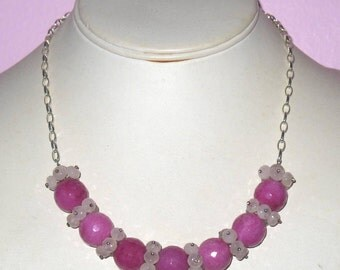Rose Quartz Clusters between Raspberry Pink Jade Round Beads on Sterling Silver Chain  Necklace