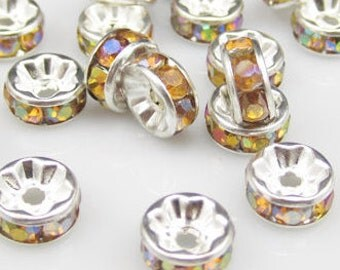 8MM Plated silver yellow gold crystal jewelry spacer beads    quantity 20  jewelry findings  DRW93