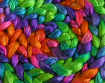 Silk Sliver Top Mulberry Roving Fiber cultivated FLOWER POWER Bombyx Supreme Quality HandPainted for Handspinning Pink Purple Green 2 oz