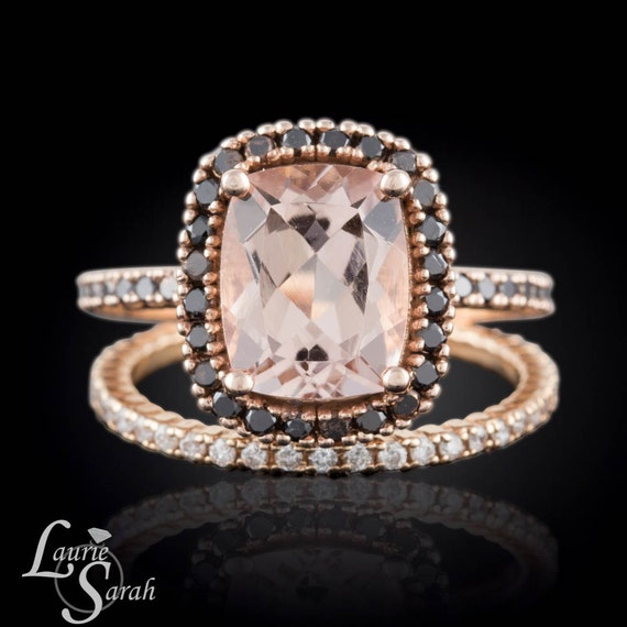 Morganite Engagement Ring Black Diamond Halo by LaurieSarahDesigns