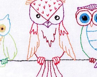 Hand Embroidery Pattern-Owls-Hoot Hootenanny