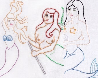 Mermaids Hand Embroidery Pattern, Combo 3 Pack, Shells, Starfish, Trident, Ocean, Sea, PDF