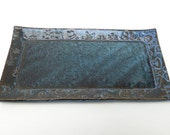Slate Blue Textured Floral Handmade Ceramic Pottery Butter Dish Plate