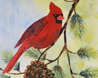 Art, Fine Art-Watercolor Painting of a Red Cardinal Sitting in a Pine Tree