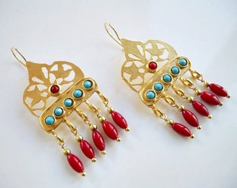Coral and Turquoise earring