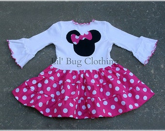 Custom Boutique Minnie Mouse Hot Pink White Polka Dot  Tiered Dress