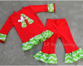ON SALE NOW Custom Boutique Clothing Christmas Holiday Wear Personalized Tee And Pant Outfit Red And Lime Chevron