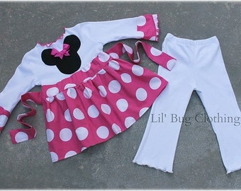 Custom Boutique Pink  Jumbo Dot Minnie Mouse Top and Leggings