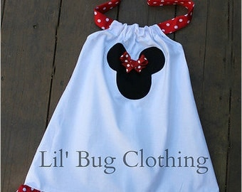 Custom Boutique Clothing Girl White Red and Black  A Line Minnie Mouse Halter Dress