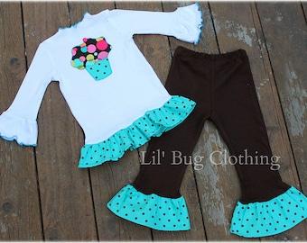 Bubble Blast Cupcake Cocoa Teal Polka Dot Fall Birthday Outfit  Pant Tee
