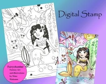Mermaid Melissa Digital Stamp Instant Download Lineart for cards and crafts Printable Coloring Page Mermaid Illustration by Niina Niskanen