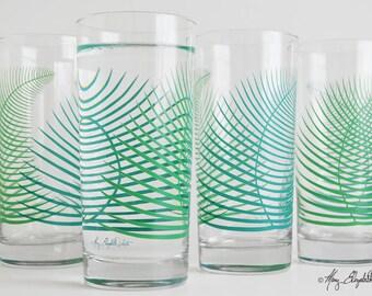 Summer Green Ferns Glassware - Set of 4 Cocktail Highball Glasses, Fern Glasses, Summer Fern Glasses, Green Fern Glassware, Tropical Leaf