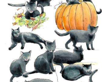 Black Cats Watercolor Clip Art ~ Cat Watercolor Clip Art - Halloween Watercolor Clip Art - JPG ~ PNG