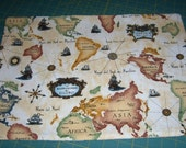 World Map PLACEMATS, Golden Colors Cream Background  - Plaid Reversible -Set of 4