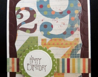 Greeting Card Handmade Happy Birthday Numbers