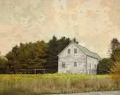 Farmhouse Photography, Maine Country Landscape photos, White Green Orange Decor, Painterly Cottage Chic Print Fine art Home and Office Decor