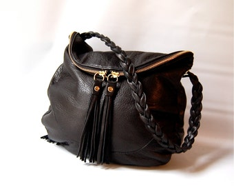 Alberta bag in black // braided handle