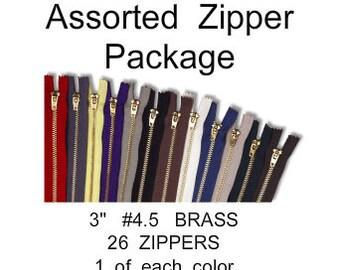 "Assorted Package - 3"" - YKK JEAN Zippers - 3 inch - Brass - Metal - 26 ZIPPERS - size 4.5"