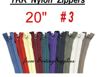 "12 ZIPPERS - 20"" - YKK Nylon Zippers - 20 inch -Special Promotion, Assorted Package - Please read description"