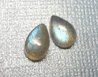 Set of 2 - Pear Labradorite Cabochon  - 6x9mm