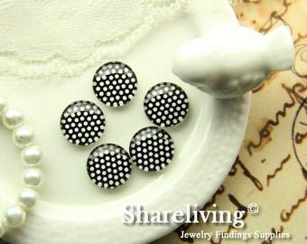 Glass Cabochon, 8mm 10mm 12mm 14mm 16mm 20mm 25mm 30mm Round Handmade photo glass Cabochons  (Dots) -- BCH232R