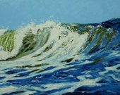 Wave painting 28 24x36 inch seascape landscape original oil painting by Roz