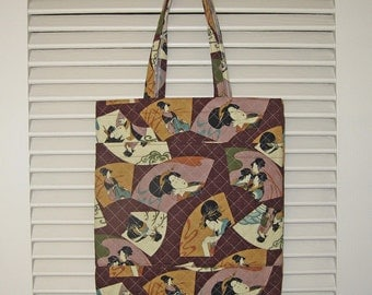 Geisha Utamaro Design Quilted Handy Tote Japanese Asian Design